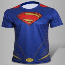 2016 brand superman's short sleeve T-shirt Men bigger sizes tight t-shirts fashion cartoon superman t-shirts Free shipping