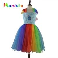 キッズ女の子虹ドレスマイリトル馬女の子ドレスふわふわ手作りチュールチュチュドレス
