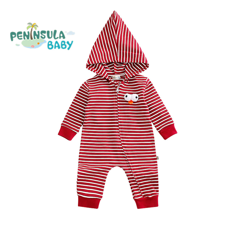 Newborn Baby Boy Girl Clothes Long Sleeve Cartoon Striped Hooded Jumpsuit Baby Romper Infant Coverall Christmas Clothing Gift hooyi cartoon hooded rompers ropa mickey bebe long romper baby boy girl clothing roupa infantil newborn jumpsuit recem nascido