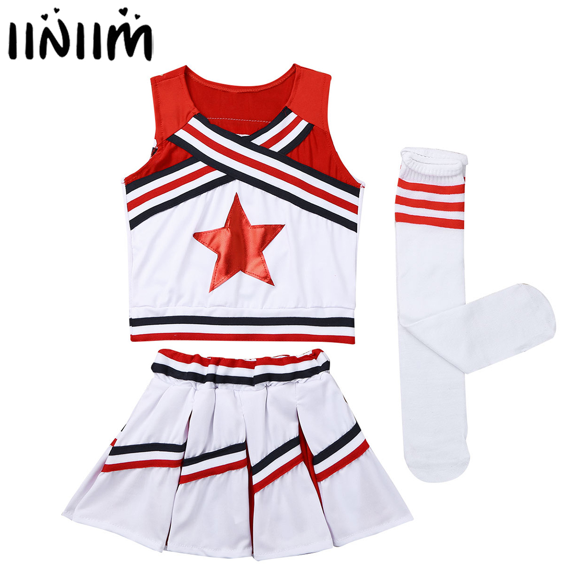 iiniim Kids Girls Cheerleader Costume Red Star Applique Tops with Skirt Socks Dancewear for Halloween Cosplay Party Dance Wear