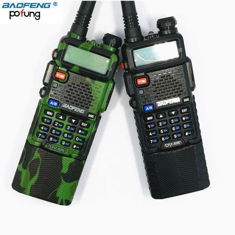 Baofeng UV-5R avec 3800 mAh longue Li-ion Batterie Talkie Walkie Double Bande VHF + UHF UV5R Jambon Deux-Façon Radios (Noir/Camouflage)