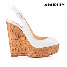 Aimirlly Women Cork Wedge Sky High Platform Heel Sandals Slingback Pumps Summer Shoes Comfortable to Wear White Handmade