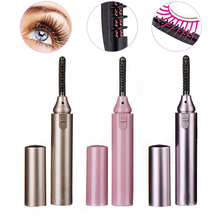 Portable Mini Electric Heated Eyelash Curler Double Sided Eye Lashes Curly Lash Beauty Makeup Tool Eye Lashes Curler Clip Tool