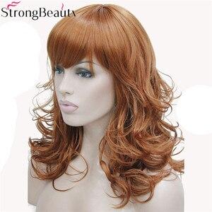 Image 2 - StrongBeauty 合成ミディアムカーブラウンブラックブロンド系 Amrican 女性の前髪と