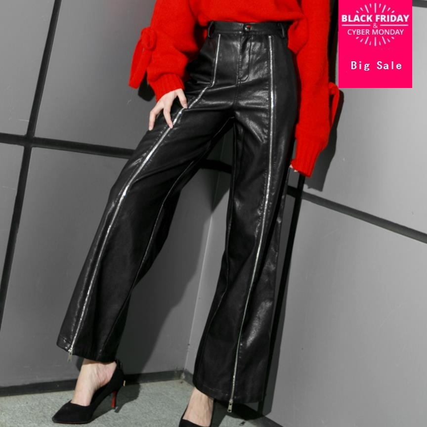Double zipper women fashion Faux Leather pants 2019 autumn winter new casual style high waist female PU pants gx1086