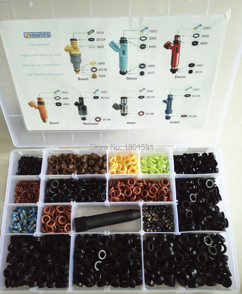 Free Shipping Fuel Injector Repair Kits for universal type fuel injection injector rebuild kits with 16kinds
