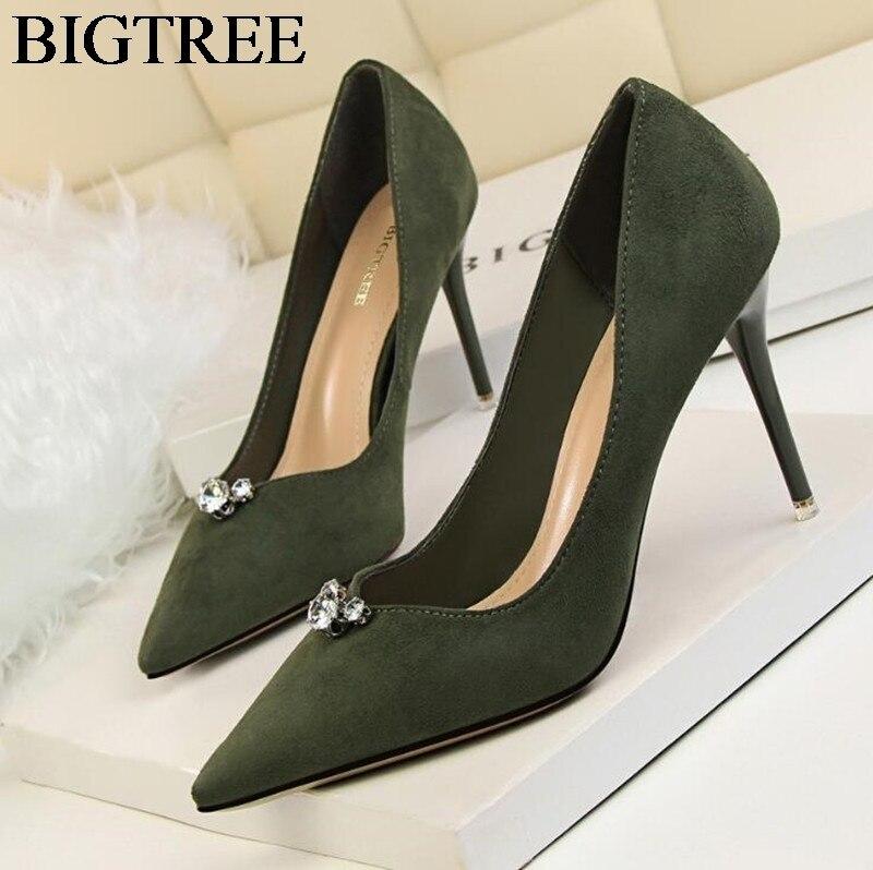 BIGTREE Elegant Heels Flock Leather Stilettos Fashionable Rhinestones Party Pumps Pointed Toe Women Shoes Thin High-heeled Green цены онлайн