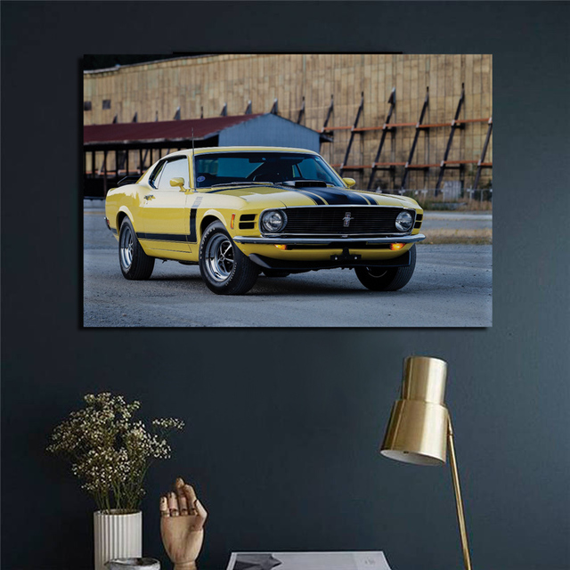 Classic Mustang Boss 302 1970 Yellow Muscle Car Side View Living