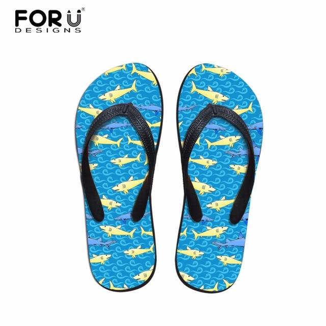 80c90235d338 FORUDESIGNS Women Summer Shark Dolphin Print Slippers Beach Flip Flops  Ladies Fashion Flat Thong Sandals Non-slip Pool Slides