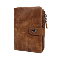 G FAVOR Crazy Horse Genuine Leather Men Wallets Credit Business Card Holders Double Zipper Cowhide Leather