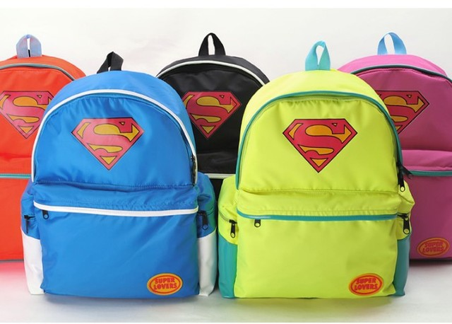 Anime Bolsa Brand School Bag Neon Candy Color Super Man Backpack