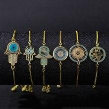 Juya Hamsa Hand Of Fatima Greek Evil Eye Bracelets Supplies For Women Men Gold/Rose Gold Adjustable Chains Charm Bracelet