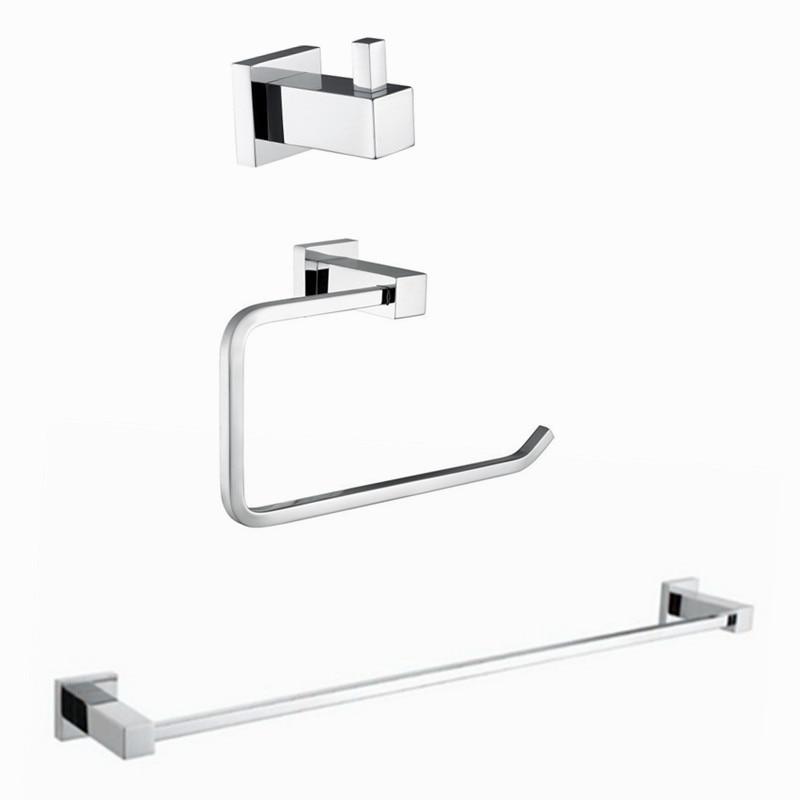 2017 Wholesale Modern Style Solid Brass Chrome 3pcs Bath Hardware Sets Robe Hook Toilet Rolling Paper