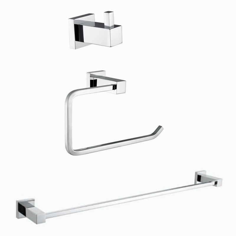 2017 Wholesale Modern Style Solid Brass Chrome 3pcs Bath Hardware Sets Robe Hook Toilet Rolling Paper