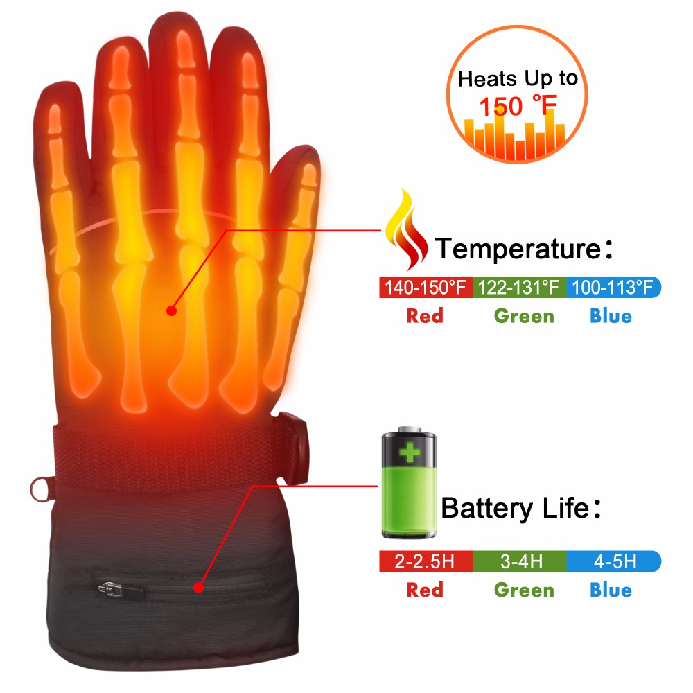 Winter Warm Heating <font><b>Gloves</b></font> Temperature Adjust <font><b>Battery</b></font> Powered 7.4V Electric <font><b>Heated</b></font> <font><b>Gloves</b></font> Rechargeable