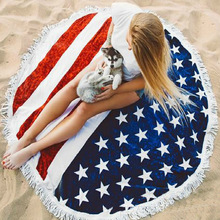 Beach Towel Round for Adults American Flag Printing Tassel toalla playa 150*150cm Drop Shipping