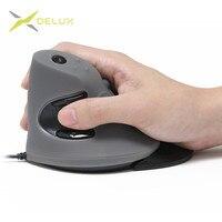 Delux m618 mouse ótico vertical com fio  6 botões 1600 dpi ergonômico ratos da mão direita com concha protetora de borracha para pc