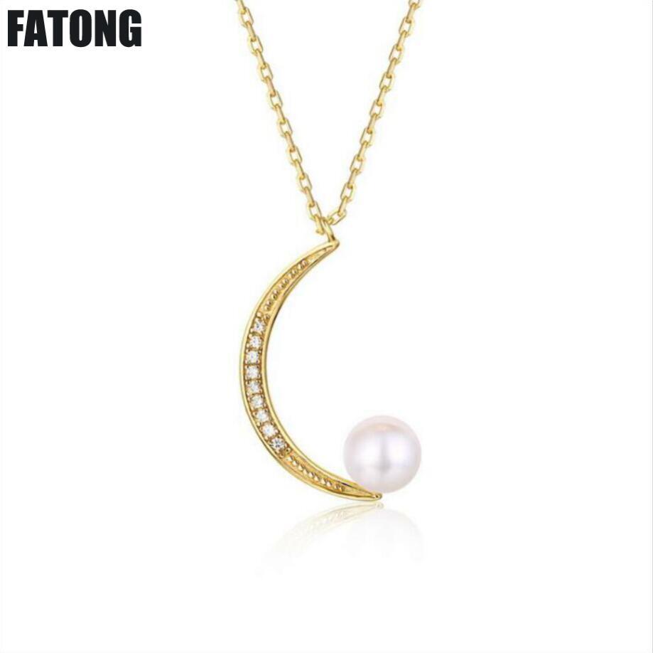 Personnalité sauvage 925 argent sterling lune collier de perles d'eau douce naturelle chaîne clavicule accessoires féminins J0128
