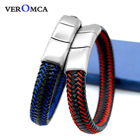 VEROMCA Punk Men Jewelry Black Genuine Braided Leather Bracelet Stainless Steel Magnetic Clasp Fashion Bangles 18.5 22.5 20.5cm (3)