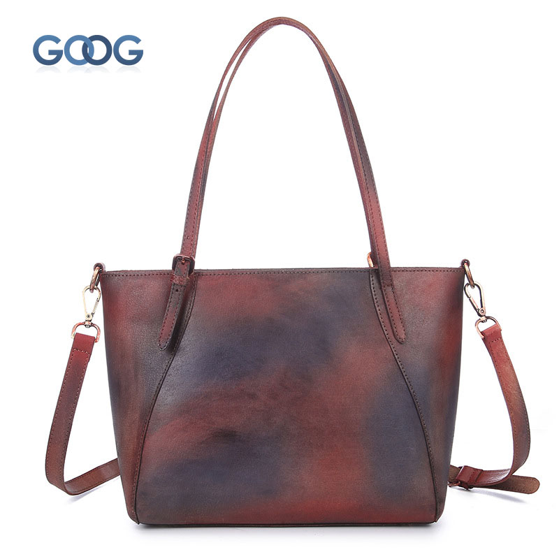 New retro cheek handmade handbags simple leisure first layer of leather cross section square shoulder bag large capacity shoppin цена
