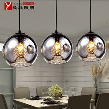 MAMEI Free Shipping Modern Dinner Room Pendant Light With 3 Lights Glass Shade With Drop Crystal Decoration 110V Or 220V