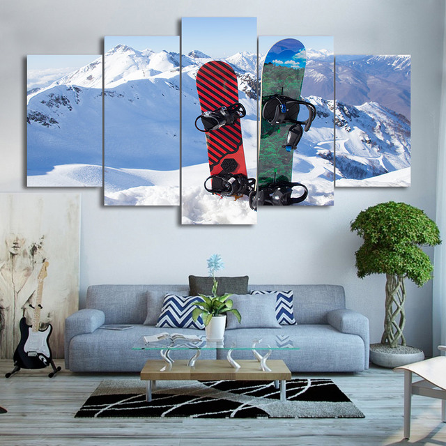 HD Printed 5 Piece Canvas Art Ice Mountain Skiing Painting Snowboard ...