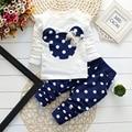 2016 nueva moda de Primavera ropa niños niñas juegos de ropa de algodón minnie arco tops camiseta polainas del bebé niños 2 unids traje al por menor