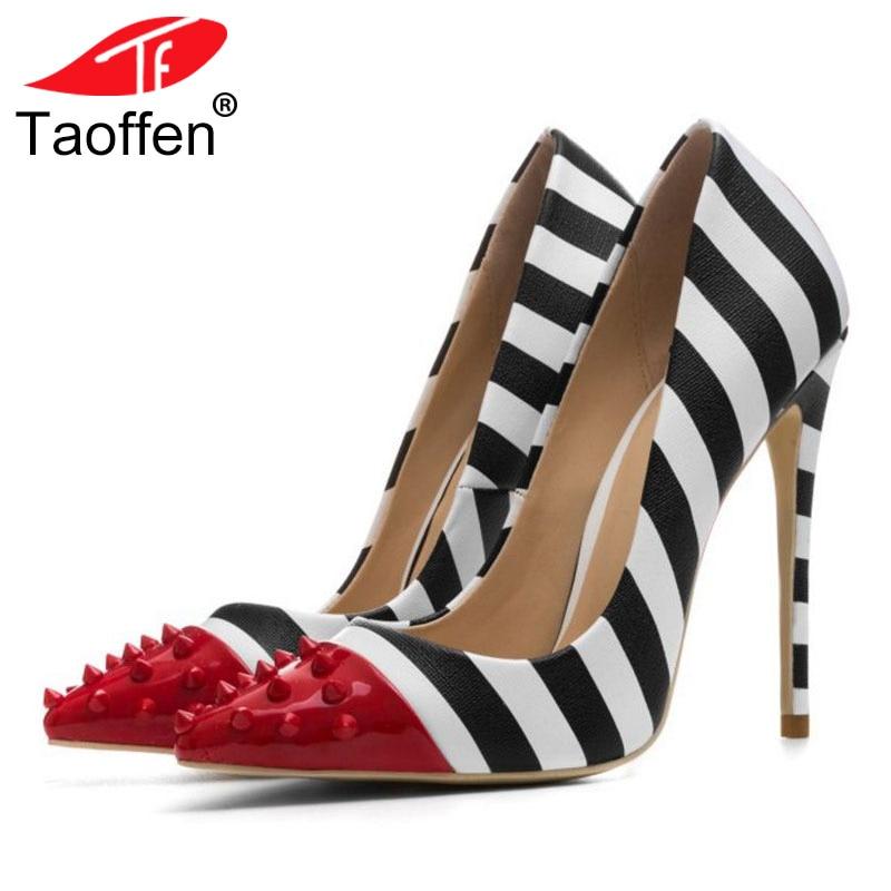 где купить TAOFFEN Plus Big Size 33-44 New Fashion Pointed Toe Pumps Women Shoes Mixed Color Rivets Sexy High Heels Bridal Wedding Shoes по лучшей цене