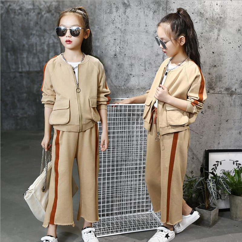 2018 Children Thick Clothing Set Kids Long Sleeve Sports Suits Spring Jacket+Girls Pants Big Girl Tracksuit Children Costumes