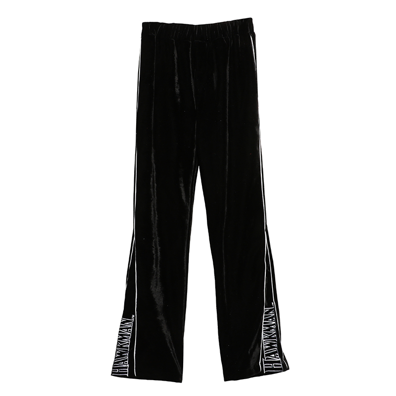 Nueva Hcy110 Terciopelo Cintura Recta Moda Navy Pantalon Invierno Anchos Casual Mujeres Blue Pantalones Otoño black 2018 Elástico OAABqX