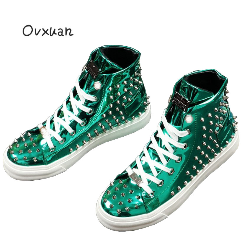Ovxuan Spikes & Rivets Casual Sneakers Men Glitter Metal Patent Leather Male Flats High Top Sneakers Fashion Party Dress Shoes casual dancing sneakers hip hop shoes high top casual shoes men patent leather flat shoes zapatillas deportivas hombre 61