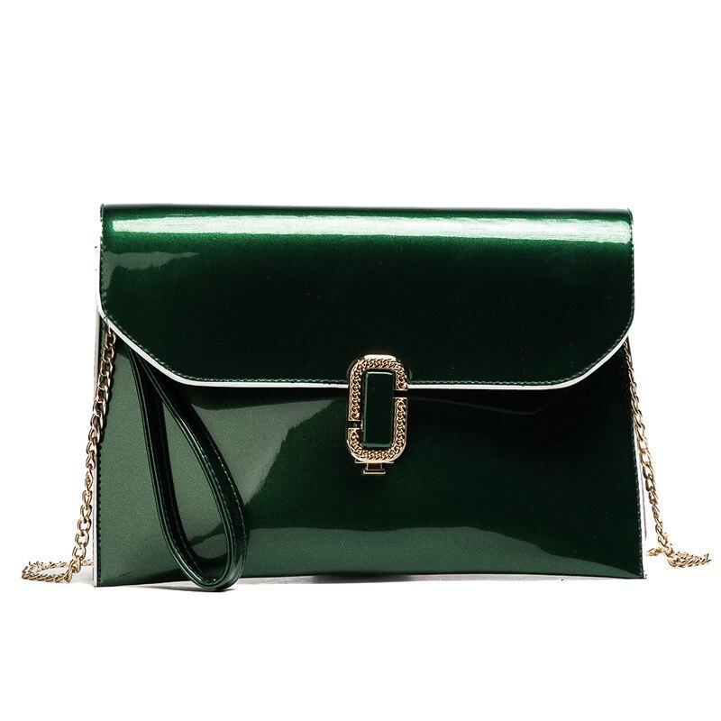 Ladies Evening Party Small Clutch Bag Bridal Purse Handbag Patent Leather 2018 New Shiny Women Chain Cross Body Messenger Bag