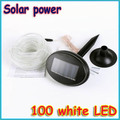 1 pcs Solar Power 100  LED Light  Rope Outdoor Indoor White for decoration