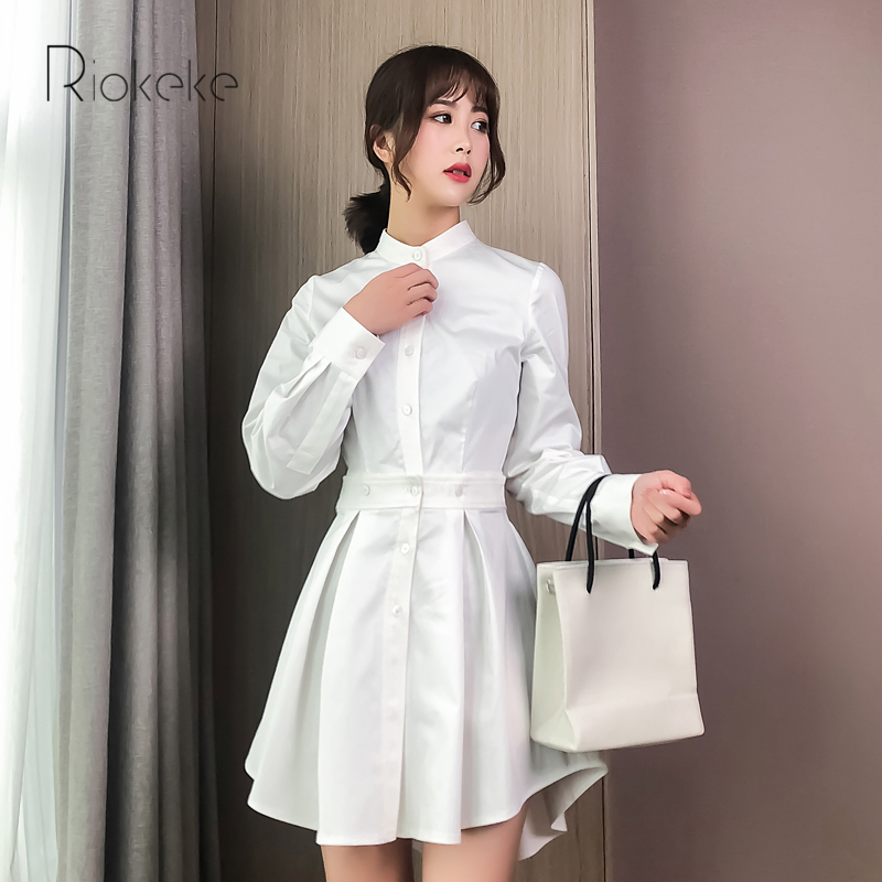 À Blanc Longues Col Nouveau Robe Coton Mandarin 2018 Riokeke Ruches Femmes Manches Automne Robes Chemise De fnwqxUAS5z