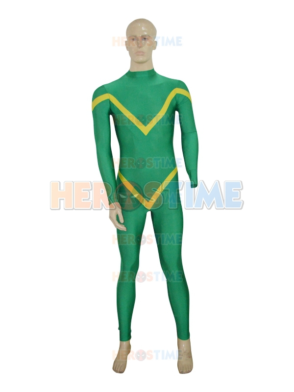 Deep Green & Yellow Custom Superhero Costume spandex halloween cosplay costumes adult zentai suit  free shipping