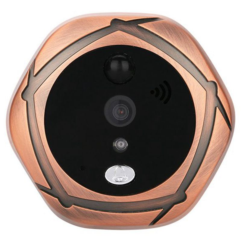 5 inch smart wireless visual cat eye doorbell WIFI remote network mobile phone APP operation 16 ringtones [EU Plug] Golden tone5 inch smart wireless visual cat eye doorbell WIFI remote network mobile phone APP operation 16 ringtones [EU Plug] Golden tone