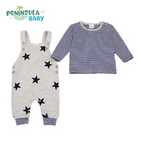 2Pcs Lot Spring Baby Clothes Set Stripe Long Sleeve Tshirt Top Stars Pattern Overalls Baby Rompers