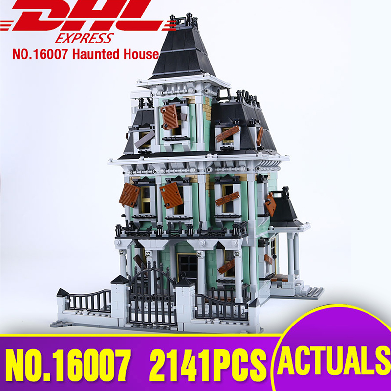 DHL LEPIN 16007 Monster fighter The haunted house Model set Educational Building Kits Model Compatible With Legoing 10228 Toys lepin 16007 the haunted house set building blocks model compatible legoing 10228 monster fighter toy for kids halloween gift