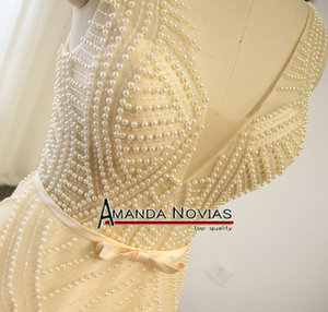 Image 3 - Sexy Transparent Bodice Pearls Wedding Dress Champagne Color