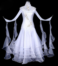 Ballroom Competition Dance Dresses Women White Color Standard Costume Lady's Waltz Tango Ballroom Dancing Dress