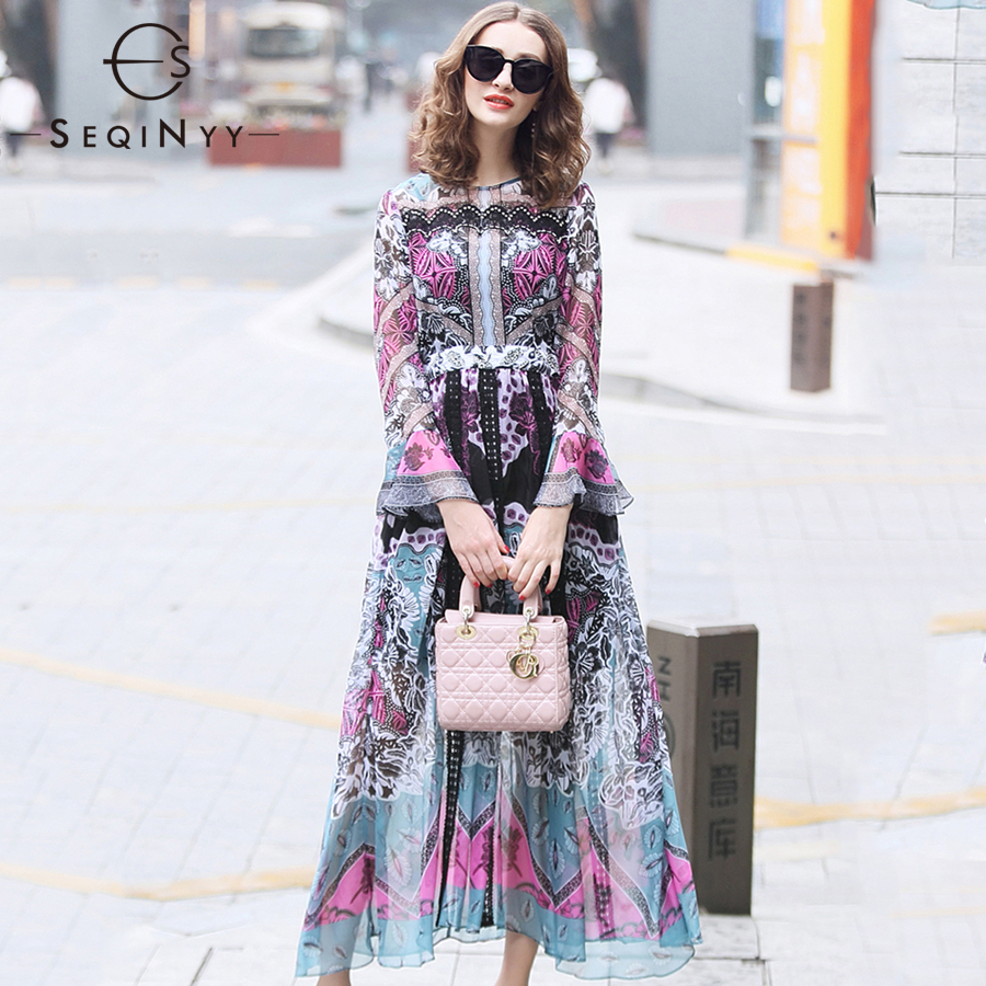 SEQINYY Chiffon Dress 2019 Early Spring Summer New Fashion Women High Quality Lace Bead Purple Black