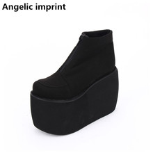 Platform-Shoes Motorcycle-Boots Angelic Imprint Lolita Mori Girl Heels High-Trifle Women