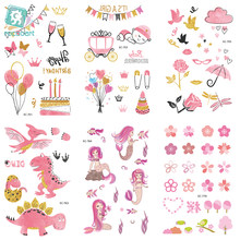 EC751-770 Pink Style Tattoo Sticker Cartoon Children Cute Unicorn Dinosaur Umbrella Temporary Tattoo Sticker Body Art Flash Taty(China)