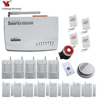 Home Security Alarm Systems 433mhz English Russian Voice GSM Alarm System With LCD Keyboard Smoke Detector