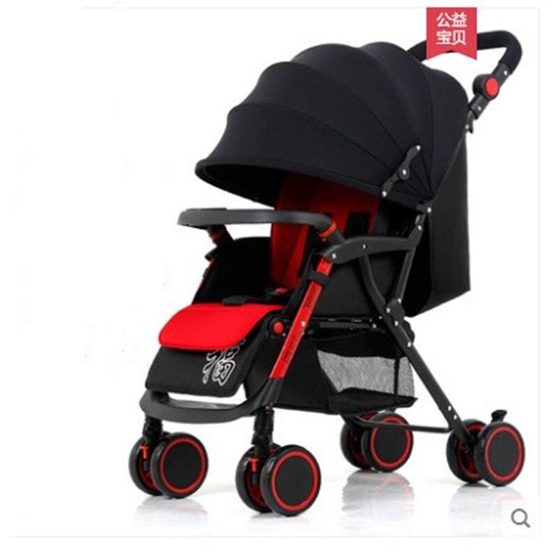 Bébé poussette peut s'asseoir inclinable léger pliant quatre roues choc nouveau-né bébé poussette bébé poussette