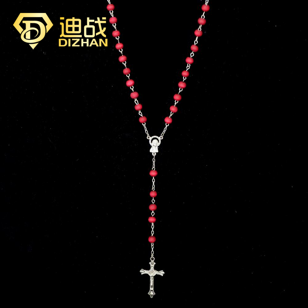 New Christian Jewelry Handmade Thin Crystal Cross Pendant Necklaces Aksesoris Wanita Perhiasan Madona 309984490003 Fashion Women Red Rosary Wooden Beads Necklace Long Accessories Christ
