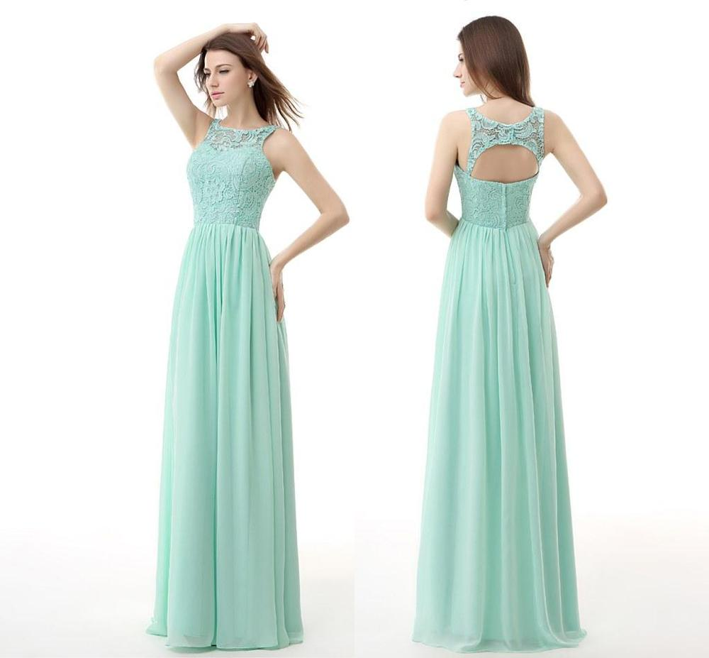 Sheer Neck Mint Green Bridesmaid Dresses 2015 Collection A Line Long ...