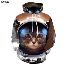 KYKU Brand Cat Sweatshirts men Animal Hooded Casual Astronaut Hoodie Print Metal Hoody Anime Galaxy Space Sweatshirt Printed