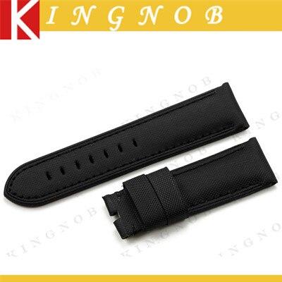Handmade Black Kevlar and Leather Watch Strap 24mm Nylon Watch Strap Fabric Grain Watchband Black Stitch