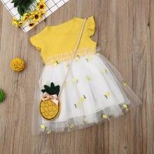 Pudcoco/ г., Брендовое милое летнее платье vestidos из 2 предметов, одежда для маленьких девочек с ананасом фатиновое платье-пачка принцессы, сарафан